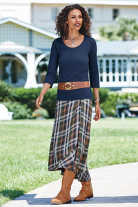 High-Low Hem Plaid Skirt - Petite