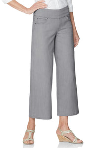 Comfort Waist Denim Wide-Leg Crop Pants - Tall