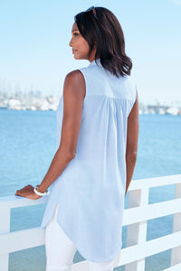 Button-Front Sleeveless Tunic - Petite