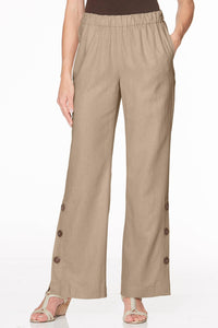 Button-Trim Linen Pants - Petite