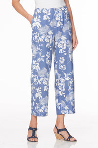 Relaxed Fit Linen Pull-On Crop Pants - Misses