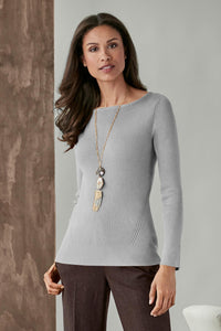 Rib Knit Boat Neck Sweater - Misses