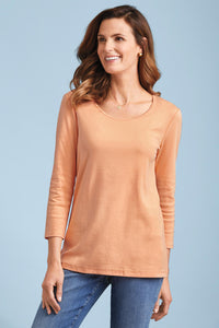 3/4-Sleeve U-Neck Tee By Isabella Bird