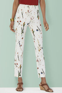 Cream Floral Pull On Ankle Pants - Misses