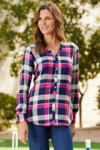 Plaid Long Sleeve V-Neck Blouse By Foxcroft