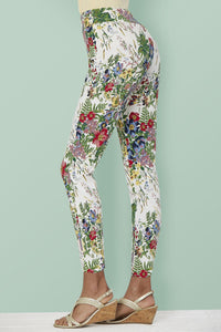 Multi Floral Pull On Ankle Pant - Misses