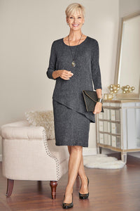Three-Quarter Sleeve Crinkle Popover Dress
