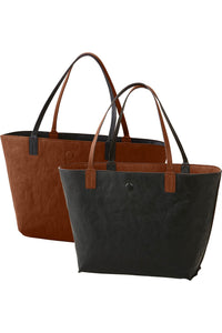 Faux Leather Reversible Tote With Pouch - Misses