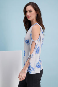 Open Sleeve Tie Cuff Blouse - Misses