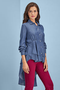 Ruffle High Low Tencel Blouse - Plus