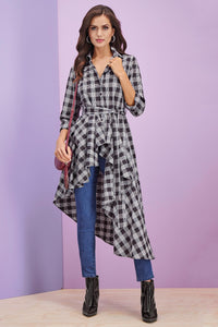 Asymmetrical High-Low Tie Waist Tunic - Misses