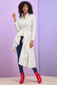 Asymmetrical High-Low Tie Waist Tunic - Tall
