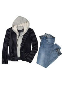 2-in-1 Knit Blazer with Detachable Hoodie - Misses