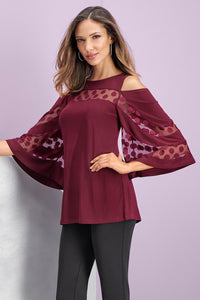 Knit Cold Shoulder Dot Tunic-Plus