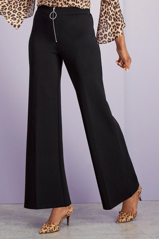 Stretch Crepe Wide Leg Pants