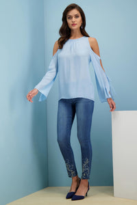 Denim Skinny Jean With Embroidered Hem - Misses