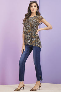 Animal Print Mesh Knit Top - Misses