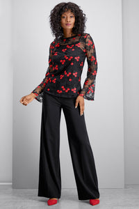 Embroidered Bell Sleeve Mesh Top - Misses