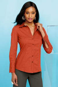 Eyelet Trim Poplin Blouse - Misses