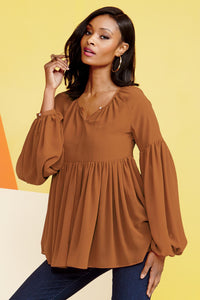 Pleated Peasant Blouse - Misses
