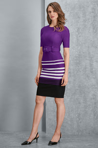 Belted Elbow Sleeve Dress - Misses