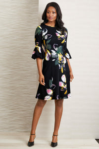 Puff Sleeve Print Dress - Misses