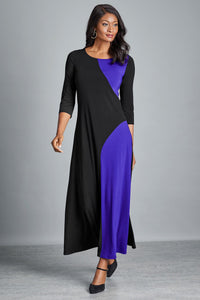 Long Color Block Colorblock Maxi Dress - Misses