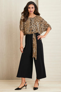 Leopard Cropped Jumpsuit - Misses
