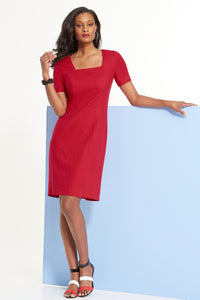 Petite M Linen Square Neck Sheath Dress