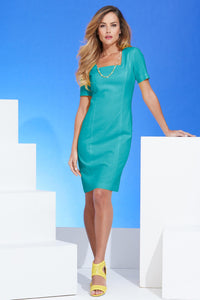 Linen Square Neck Sheath Dress - Plus