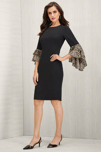 Tiered Leopard Sleeve Dress - Misses