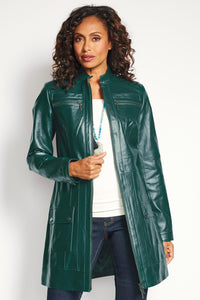 Outwear Genuine Leather Zip Front 3/4 Coat - Petite
