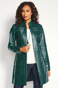 Outwear Genuine Leather Zip Front 3/4 Coat - Misses