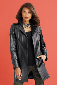 Genuine Leather Asymmetrical Front Zip Coat - Misses