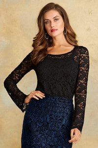 Knit Lace Scoopneck Tee-Tall