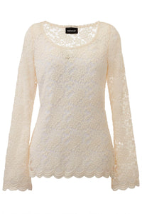 Knit Lace Scoopneck Tee - Misses