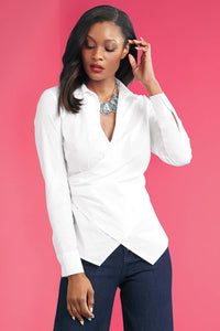 Misses M Bls Faux Wrap Side Zip  Blouse
