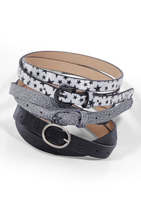 Silver Multi Belt 3-Pack