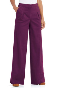 Pants Brushed Twill Inverted Pleat Wide Leg Pant-Tall