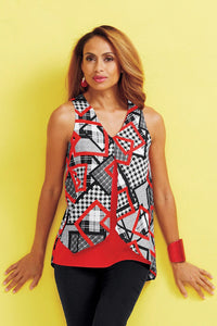 Houndstooth Square Print Sleeveless Top - Misses