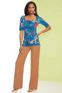 Knit Center Ruched Floral Top - Misses