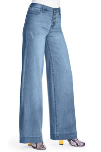 Denim Button Front Wide Leg Jeans - Tall