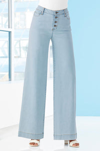 Denim Button Front Wide Leg Jeans - Misses
