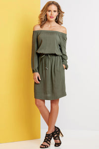 Dress Off The Shoulder Soft Drapey Dress-Tall