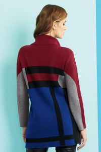 Color Block Sweater Jacket - Misses