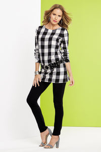M Bls Buffalo Plaid Back Button Tunic - Misses
