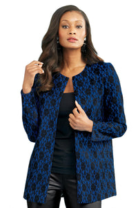 Embossed Lace Blazer - Misses