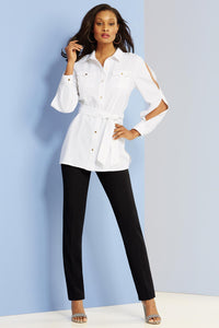 Blouses New Cold Shoulder Safari Shirt-Plus