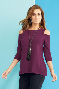 Mock Neck Cold Shoulder Sweater - Misses