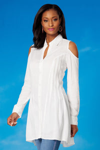 Seamed Cold Shoulder Blouse - Misses